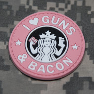 I Heart Guns & Bacon - Pink PVC Morale Patch S Buck Style Coffee Gun Bacon Velcro Patch Surplus Ammo