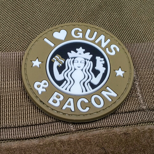I Heart Guns & Bacon - FDE PVC Morale Patch S Buck Style Coffee Gun Bacon Velcro Patch Surplus Ammo