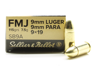 Surplus Ammo, Surplusammo.com 9mm 115 Grain FMJ Sellier & Bellot 9 mm, 9x19, 9 Para, 9 Parabellum, 9 Luger SB9A