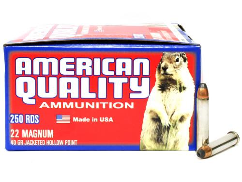 Surplusammo.com   Surplus Ammo 22 Magnum 40 Grain JHP Nickel-Plated-Brass-Casing AMERICAN QUALITY - 500 Rounds Bulk N22Mag40HPVP500