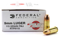 9mm 115 Grain FMJ Federal Range.Target.Practice Ammunition FDRTP9115