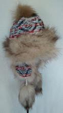 Trapper Fur Hat - Cream/Orange/Grey