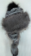 Trapper Fur Hat - Grey/Black