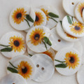 5 Natural Shell Buttons - Sunflower Flower - 2.5cm