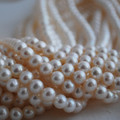 "16"" Strand Natural Freshwater Pearl Beads Round White 3 - 9mm Grade AA"