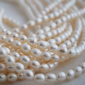 "15"" Strand Natural Freshwater Pearl Beads Rice White 6 - 7mm Grade AA"