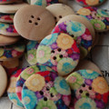 10 Floral Wood Buttons - Colourful Flower Field - 3cm