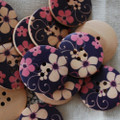 10 Floral Wood Buttons - Wild Flowers - 3cm