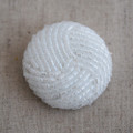 Hand Beaded Button - Off White - 3cm