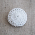 Handmade Crocheted Threads Covered Button - White - 2.8cm