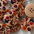 10 Wood Buttons - Colourful Butterfly - 3cm