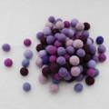 100% Wool Felt Balls - 100 Count - 1.5cm - Purple Colours