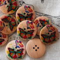 10 Wood Buttons - Rainbow Butterfly - 3cm