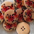 10 Wood Buttons - Butterfly and Rose Flower - 3cm