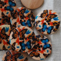 10 Wood Buttons - Orange and Blue Butterfly - 3cm
