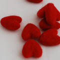 100% Wool Felt Hearts - 5 Count - Red
