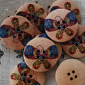 10 Wood Buttons - Cute Butterfly - 3cm