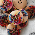 10 Wood Buttons - Floral Butterfly - 3cm