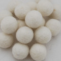 100% Wool Felt Balls - 10 Count - 2cm - Ivory