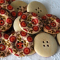 10 Wood Buttons - Orange Red Wild Flower - 3cm