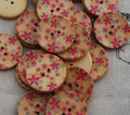 10 Floral Wood Buttons - Raspberry Pink Flower - 3cm