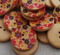 10 Floral Wood Buttons - Wild Flower Field - 3cm