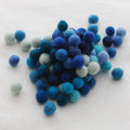 100% Wool Felt Balls - 100 Count - Blue Colour Shades - 1cm
