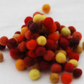 100% Wool Felt Balls - 100 Count - Red Yellow Colour Shades - 1cm