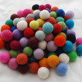 100% Wool Felt Balls - 100 Count - 2.5cm - Assorted Colours