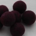 100% Wool Felt Balls - 5 Count - 3cm - Aubergine Purple