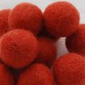 100% Wool Felt Balls - 5 Count - 3cm -  Coral Orange