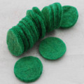 100% Wool Felt Die Cut Circles - 3cm - 10 Count - Forest Green