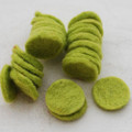 100% Wool Felt Die Cut Circles - 3cm - 10 Count - Yellow Green