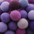 100% Wool Felt Balls - 100 Count - 2.5cm - Purple Colours
