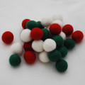 100% Wool Felt Balls - 30 Count - 2cm - Christmas