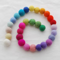 100% Wool Felt Balls - 30 Count - 2cm - Assorted