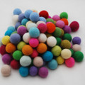 100% Wool Felt Balls - 100 Count - 2.5cm - Assorted Light and Bright Colours