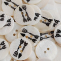 5 Natural Shell Buttons - Cutlery - 2cm