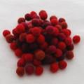100% Wool Felt Balls - 100 Count - Red Colour Shades - 1cm