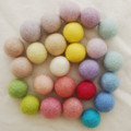 100% Wool Felt Balls - 25 Count - 2.5cm - Assorted Light, Pale & Pastel Colours