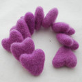 100% Wool Felt Hearts - 5 Count - Amethyst Purple