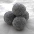 100% Wool Felt Balls - 5 Count - 4cm - Light Grey Mix