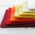"Handmade 100% Wool Felt Sheets - Approx 5mm Thick - 6"" Square Bundle - Red Yellow Colours"