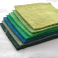 "Handmade 100% Wool Felt Sheets - Approx 5mm Thick - 6"" Square Bundle - Green Colours"