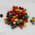 100% Wool Felt Balls - 100 Count - 2cm - Woodland Colours