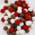 100% Wool Felt Balls - 100 Count - 2cm - Christmas Colours - 02