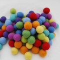 100% Wool Felt Balls - 100 Count - 2.5cm - Rainbow Colours