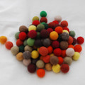 100% Wool Felt Balls - 100 Count - 2.5cm - Woodland Colours