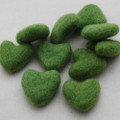 100% Wool Felt Hearts - 5 Count - Asparagus Green