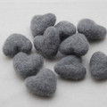 100% Wool Felt Hearts - 5 Count - Battleship Grey